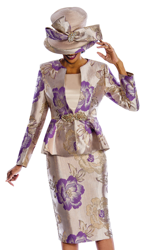 Susanna 3845 ( 3pc Shimmer Shantung Ladies Church Suit With Floral Print Design )