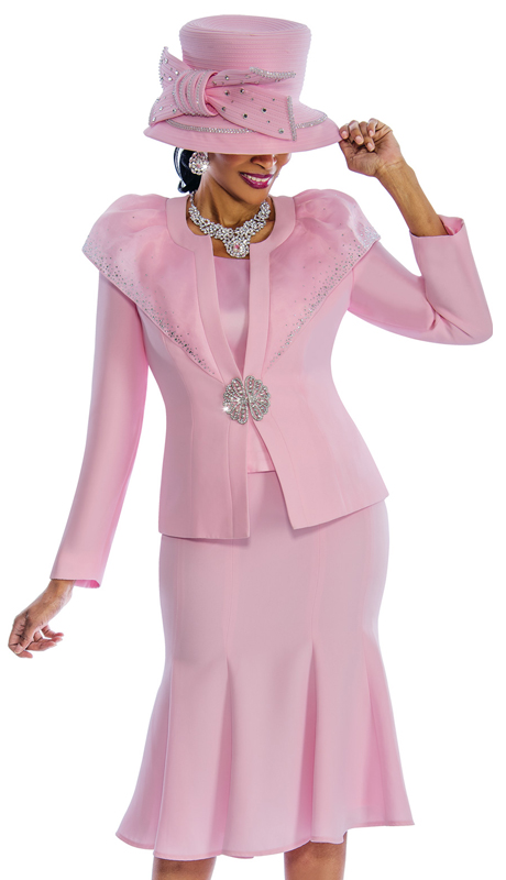 Susanna 3789-P ( 3pc Peachskin Sunday Suit With Ornate Broach And Rhinestone Trim )