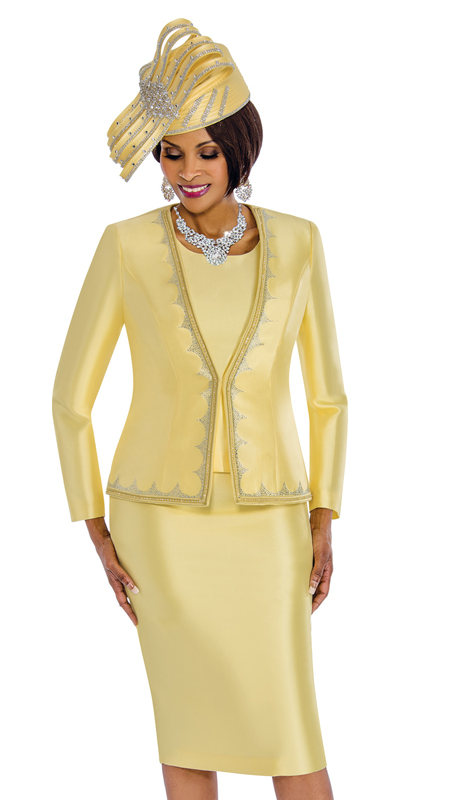 Susanna 3846-C ( 3pc Silk Skirt Suit With Rhinestone Trim )