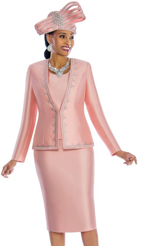 Susanna 3846-P ( 3pc Silk Skirt Suit With Rhinestone Trim )