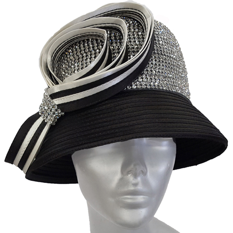 Swan Hats 6676-Black With White