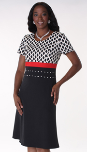 Tally Taylor 9405-BLK  1pc PeachSkin Women Dress For Church With Stand Out Details At Waist )
