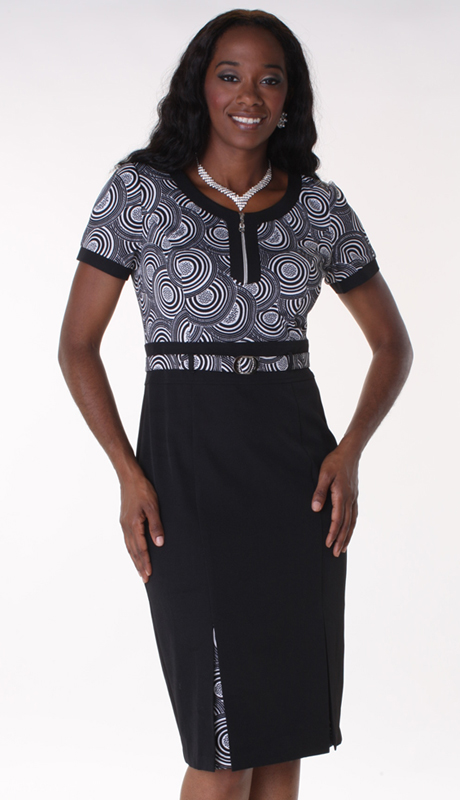 Tally Taylor 9409-BLK  ( 1pc PeachSkin Ladies Church Dress With Circle Design )