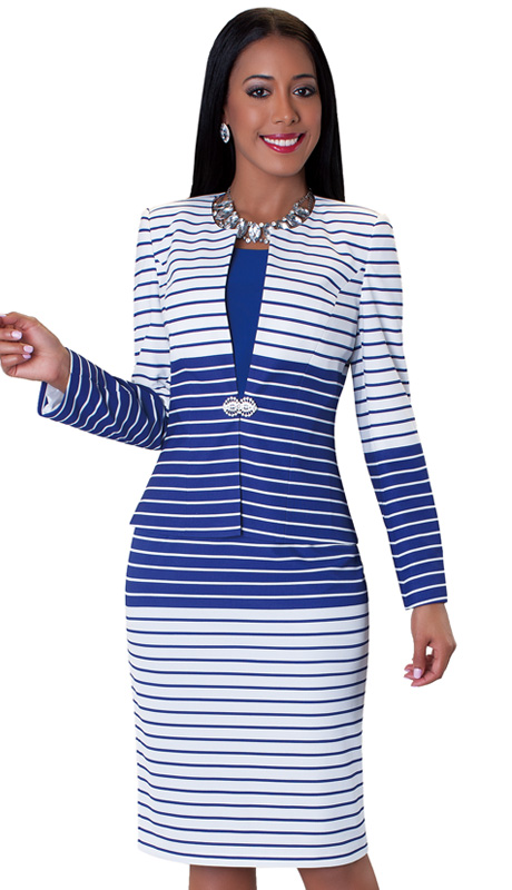 Tally Taylor 9414-ROY-IH-WE ( 2pc Ladies Church Dress With Rhinestone Buckle And Stripe Pattern Print On Jacket )