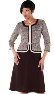 Tally Taylor 9415-BA  ( 2pc Two Tone Circle Design Dress And Jacket With Rhinestone Buckle And Three-quarter Sleeves )