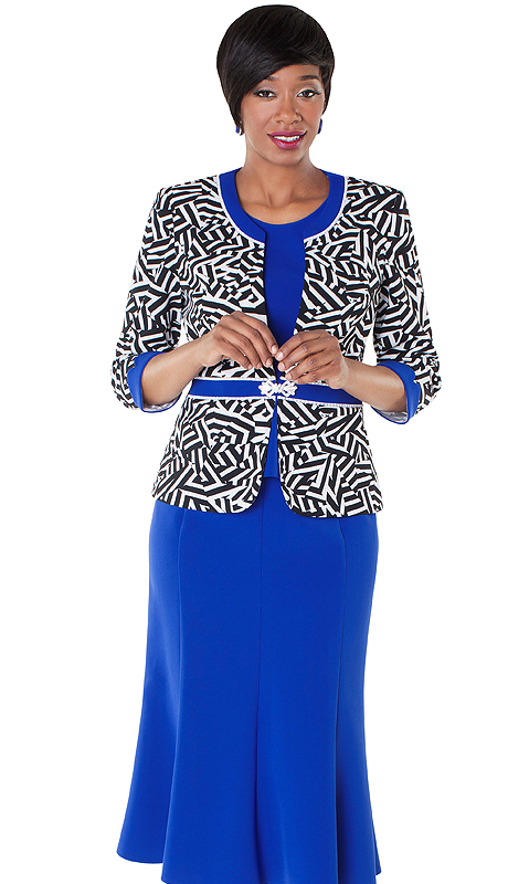 Tally Taylor 9428-RP ( 3pc Geometric Print And Rhinestone Buckle Jacket, Cami And Skirt Suit )
