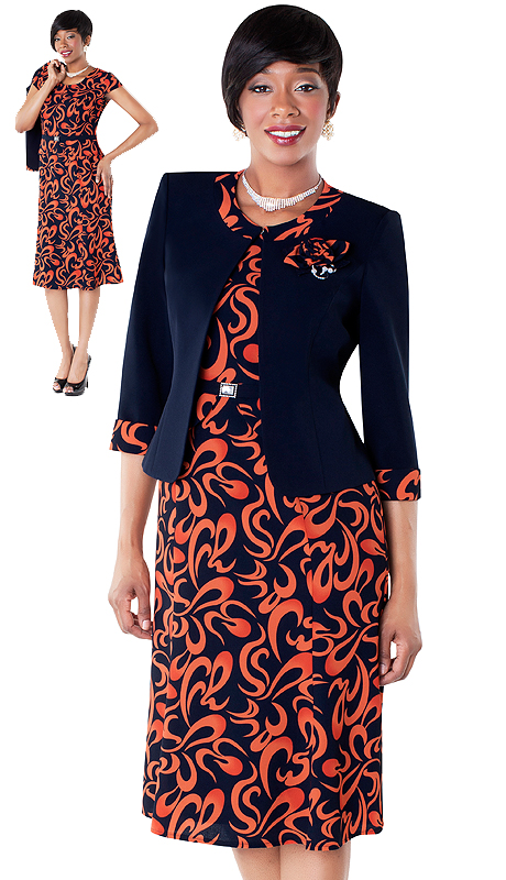 Tally Taylor 9434-OM ( 2pc Swirl Print Dress And Jacket With Detachable Flower )