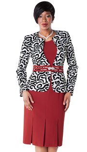 Tally Taylor 9429-RP ( 2pc Dress With Box Pleats And Graphic Print Jacket With Rhinestone Clasp )