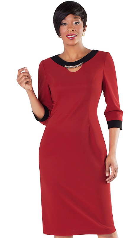 Tally Taylor 9419-RB ( 1pc Dress With Rhinestone Detail On Collar )