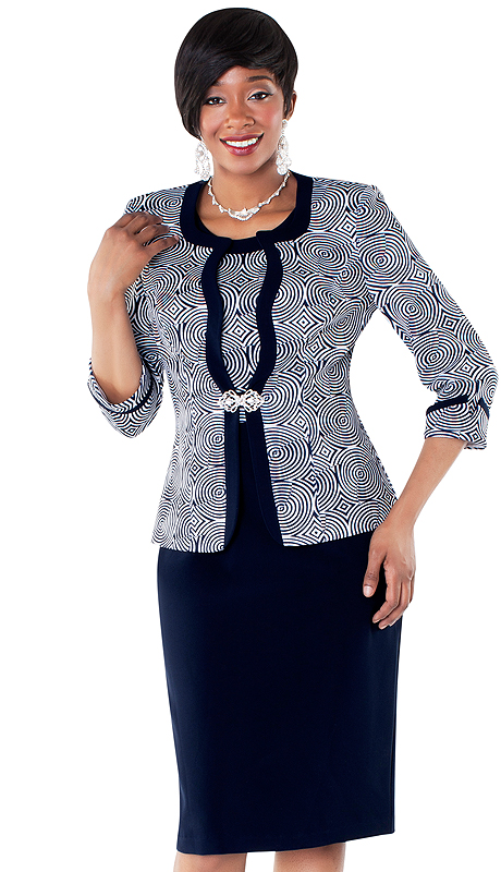 Tally Taylor 9425-NW ( 2pc Circular Print Dress And Jacket With Rhinestone Buckle )
