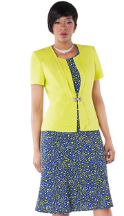 Tally Taylor 9437-LN ( 2pc Polka Dot Print Dress With Solid Jacket And Rhinestone Buckle )