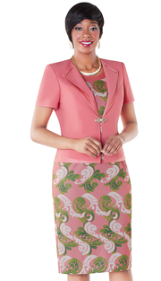 Tally Taylor 9431-RP ( 2pc Dress With Baroque Print And Solid Jacket With Rhinestone Buckle )