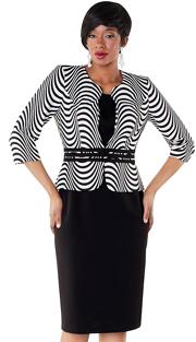 Tally Taylor 9416-BW ( 2pc Beautiful Two Tone Print Dress )