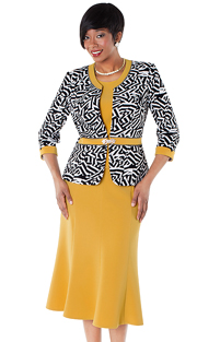 Tally Taylor 9428-MP ( 3pc Geometric Print And Rhinestone Buckle Jacket, Cami And Skirt Suit )