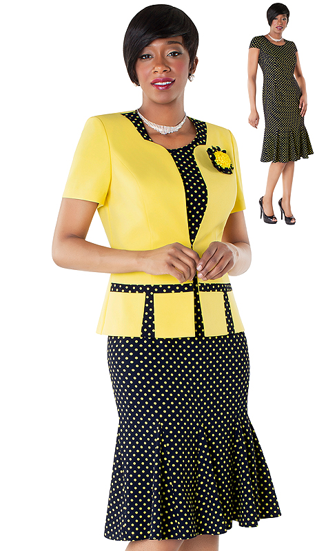 Tally Taylor 9436-NY ( 2pc Fit And Flare Dress With Polka Dot Print And Jacket With Detachable Flower )