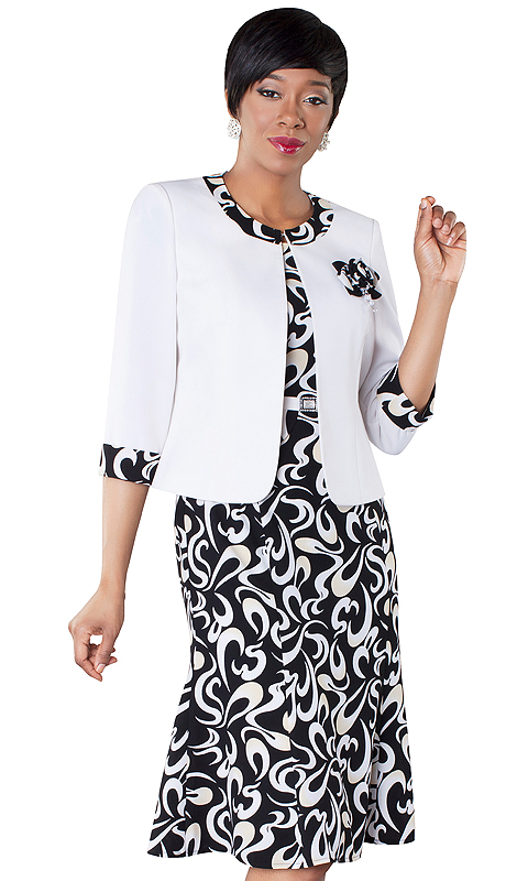 Tally Taylor 9434-WB ( 2pc Swirl Print Dress And Jacket With Detachable Flower )