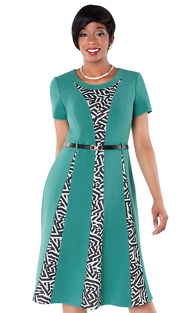 Tally Taylor 9421-TUR ( 1pc Fit & Flare Dress With Graphic Print Detail )