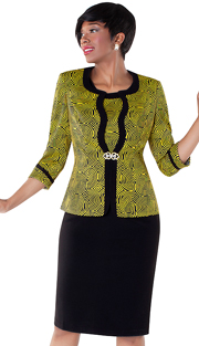 Tally Taylor 9425-MN ( 2pc Circular Print Dress And Jacket With Rhinestone Buckle )
