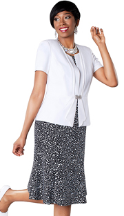 Tally Taylor 9437-WB ( 2pc Polka Dot Print Dress With Solid Jacket And Rhinestone Buckle )