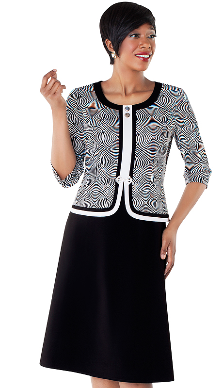 Tally Taylor 9415-BW  ( 2pc Two Tone Circle Design Dress And Jacket With Rhinestone Buckle And Three-quarter Sleeves )