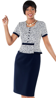 Tally Taylor 9418-NM ( 1pc Polka Dot Print Dress With Multi-layer Design At Waist )