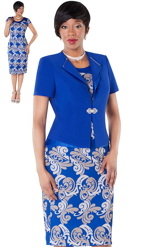 Tally Taylor 9431-ROP ( 2pc Dress With Baroque Print And Solid Jacket With Rhinestone Buckle )