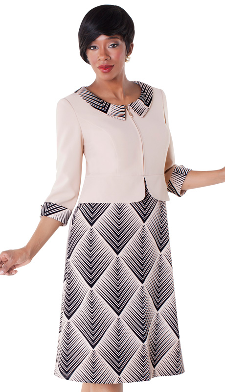 Tally Taylor 9417-APR ( 1pc Two Tone Chelsea Collar Dress )