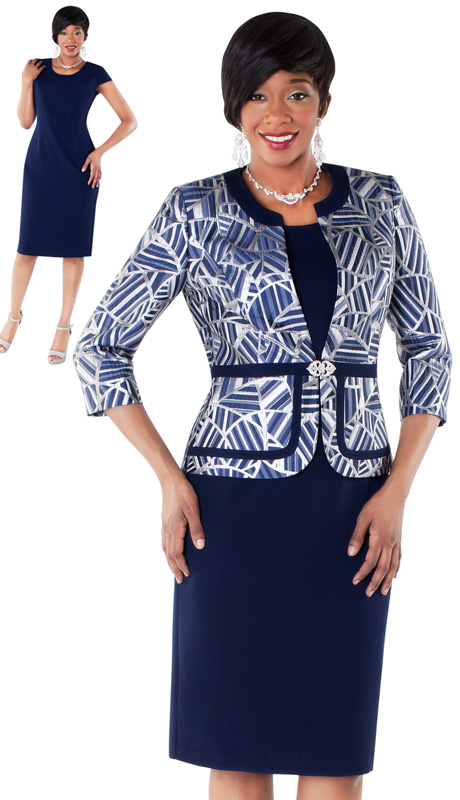 Tally Taylor 9424-NA ( 2pc Mosaic Print Womens Jacket With Rhinestone Clasp And Solid Dress )