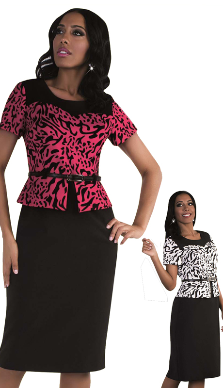 Madame By Tally Taylor 9438 ( 1pc Exclusive Church Dress In Animal Print And Belt On Waist )