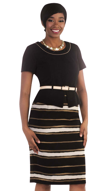 Madame By Tally Taylor 9441 ( 1pc Exclusive Church Dress With Stripes And Belt )