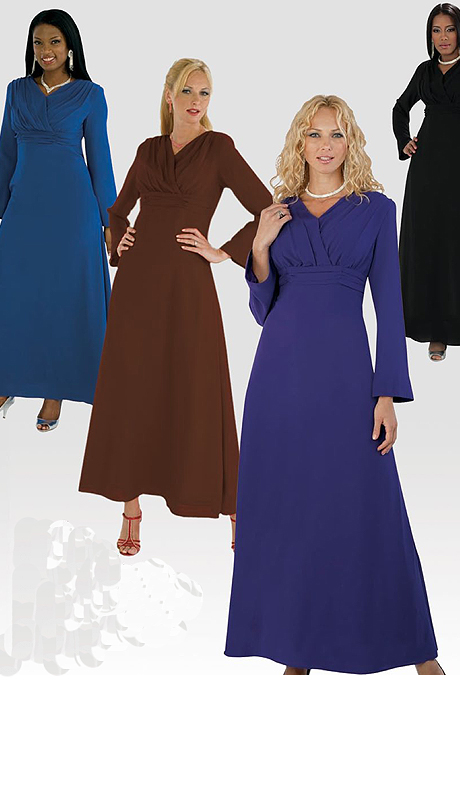 Tally Taylor 9072 ( 1pc Georgette Ladies Sunday Dress With Gathered Draperied Design On Top )