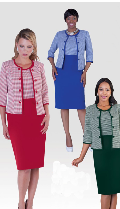 Tally Taylor 9355 2pc Ladies Church Dress With Plaid Pattern Jacket