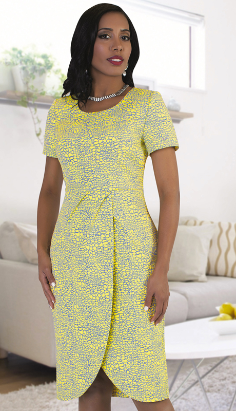 Chancelle 9491 ( 1pc Ladies Dress With Charming Two Tone Patterning And Pleat Detail )