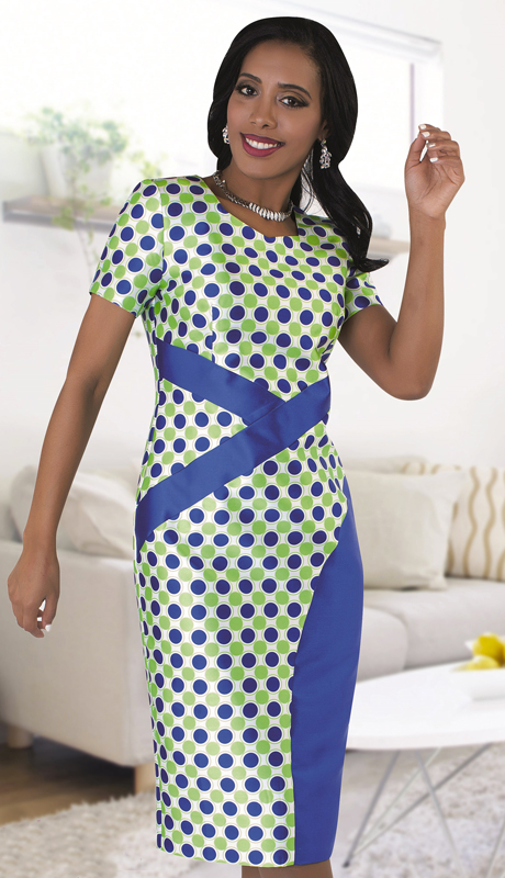 Chancelle 9487 ( 1pc Ladies Dress In Two Tone Polka Dot Pattern And Accented Waist Design )