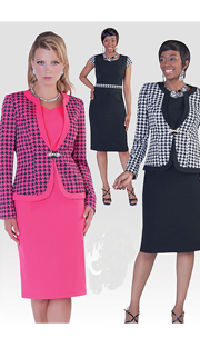 Tally Taylor 9358 ( 2pc Renova Fabric  Church Dress With Rhinestone Buckle )