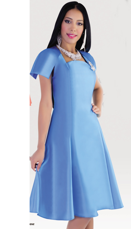 Tally Taylor 4447-BLU ( 1pc Silk Look  Women Sunday Dress For Church )