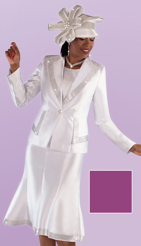 Tally Taylor 4697 ( 3pc Silk Diamond Lapel Jacket And Flared Skirt Suit With Rhinestone Detail Trims )