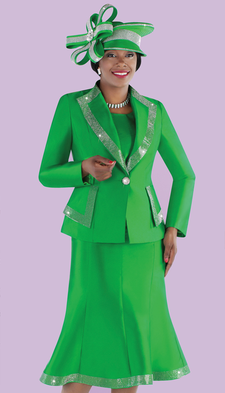 Tally Taylor 4697-EM ( 3pc Silk Diamond Lapel Jacket And Flared Skirt Suit With Rhinestone Detail Trims )