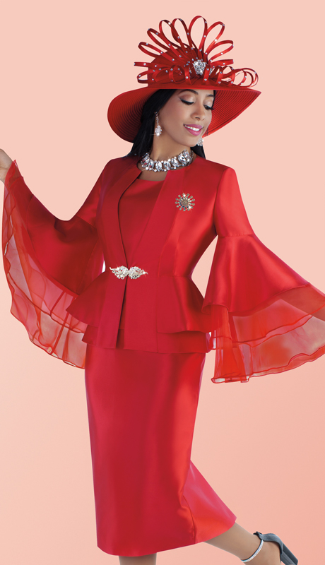 Tally Taylor 4699 ( 3pc Silk Womens Skirt Suit With Ruffle Organza Layered Wide Bell Sleeve Peplum Jacket )