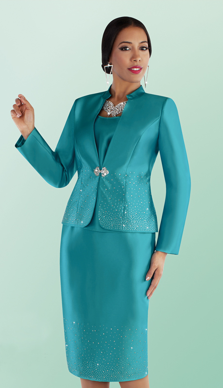 Tally Taylor 4684-PC ( 3pc Silk Rhinestone Embellished Skirt Suit With Short Stand Up Collar Jacket )