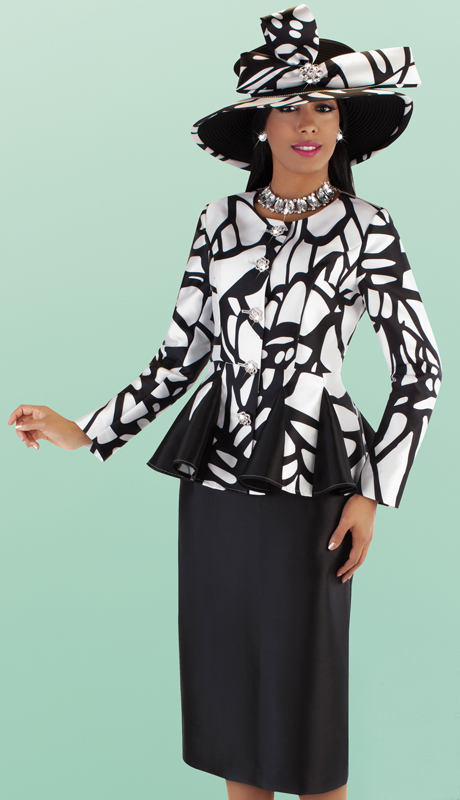 Tally Taylor 4686-BW ( 2pc Silk Skirt Suit With Abstract Printed Pleated Peplum Jacket )