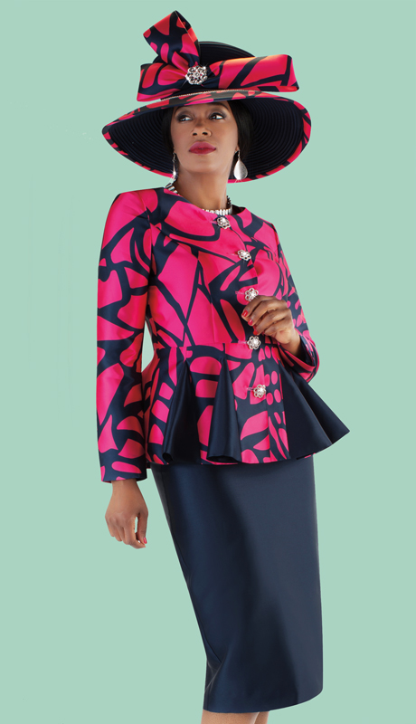 Tally Taylor 4686-NF ( 2pc Silk Skirt Suit With Abstract Printed Pleated Peplum Jacket )