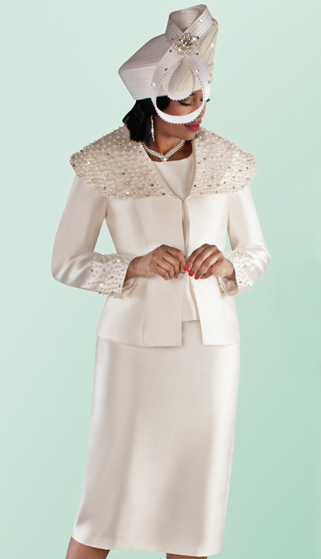 Tally Taylor 4701-IV ( 3pc Silk Skirt Suit With Pearl Detail Embellished Over Shoulder Collar Jacket )