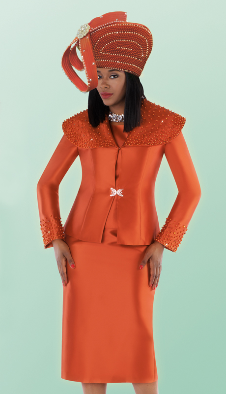 Tally Taylor 4701-PM-CO ( 3pc Silk Skirt Suit With Pearl Detail Embellished Over Shoulder Collar Jacket )