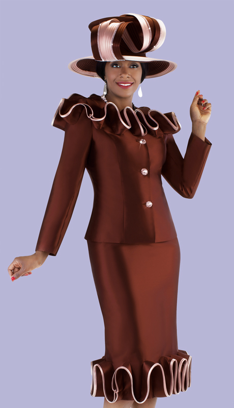 Tally Taylor 4700-BC ( 2pc Church Suit With Ruffle Piping Trimmed Jacket And Skirt )