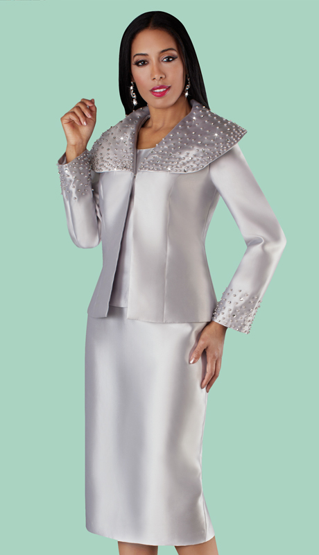 Tally Taylor 4701 ( 3pc Silk Novelty Skirt Suit With Pearl Detail Embellished Over Shoulder Collar Jacket )