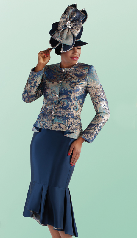Tally Taylor 4698-NP ( 2pc Silk With Brocade Mermaid Flounce Skirt Suit With Novelty Print Jacket )