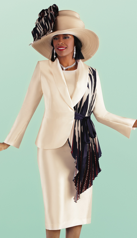 Tally Taylor 4687-CH ( 3pc Silk Skirt Suit With Asymmetrical Pleated Drape Jacket )