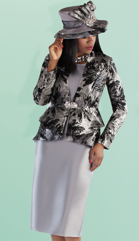 Tally Taylor 4696-BG ( 3pc Silk With Brocade Solid Color Skirt Suit With Floral Print Pattern Jacket )