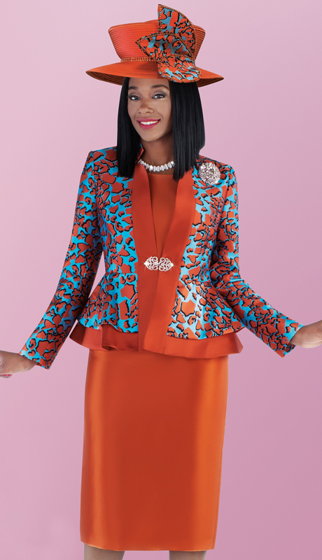 Tally Taylor 4703-PP ( 3pc Silk Skirt Suit With Abstract Print Peplum Jacket Including Brooch )
